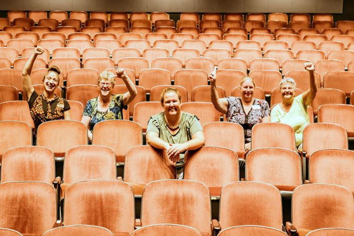Showplace Performance Centre General Manager Emily Martin (centre) with some of the members of the not-for-profit charitable organization's team (left to right): House and Volunteer Manager Kait Dueck, Board Chair Pat Hooper, and Box Office Assistants Diane Stiles and Maureen Lewis (not pictured: Box Office Manager Theresa Foley, Marketing and Development Manage Susan Oliver, and Membership Coordinator Arlene Davis). Previously Marketing Manager, Emily was appointed General Manager in April 2017 after acting in the position for almost a year. (Photo: Heather Doughty)