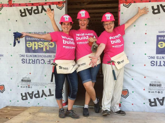 WBN members Lorie Gill, Marlaine Bennett, and Louise Racine participating in the 2018 Women Build project for  Habitat for Humanity Peterborough and Kawartha Region. (Photo: WBN)
