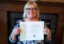 This year the Women's Business Network of Peterborough (WBN) has teamed up with Canadian Blood Services to organize blood donation drives, one of a number of initiatives WBN is planning for its the 2018-19 season to give back to the community. Pictured is WBN member Anne Arnold with a certificate from Canadian Blood Services recognizing her 75 blood donations. (Photo: Anne Arnold)