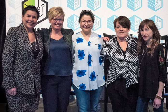 "kawarthaNOW.com founder and publisher Jeannine Taylor (left) was one of four women to speak at ""Fierce Female Founders"", an E-connect! event in March 2018 celebrating female entrepreneurship for International Women's Day. The panel was introduced by the Minister of Status of Women and Peterborough-Kawartha MP Maryam Monsef (centre) and also featured Steelworks Design co-founder Rhonda Barnett, ""serial entrepreneur"" Peggy Shaughnessy, and Amusé Coffee founder Lindsay Brock. (Photo: Samantha Moss / MossWorks Photography)"