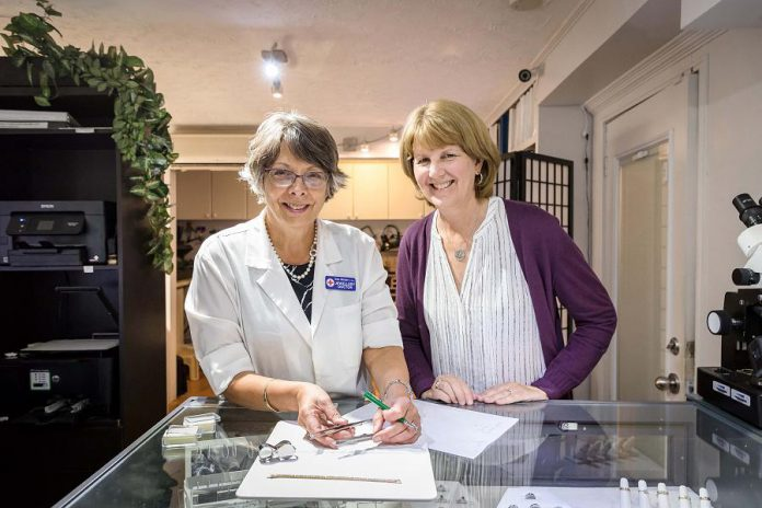Kim Winter with Studio Manager Erin Radoja, who has a Graduate Jeweller CJAGJ® designation from the Canadian Jewellers Association. (Photo: Heather Doughty)