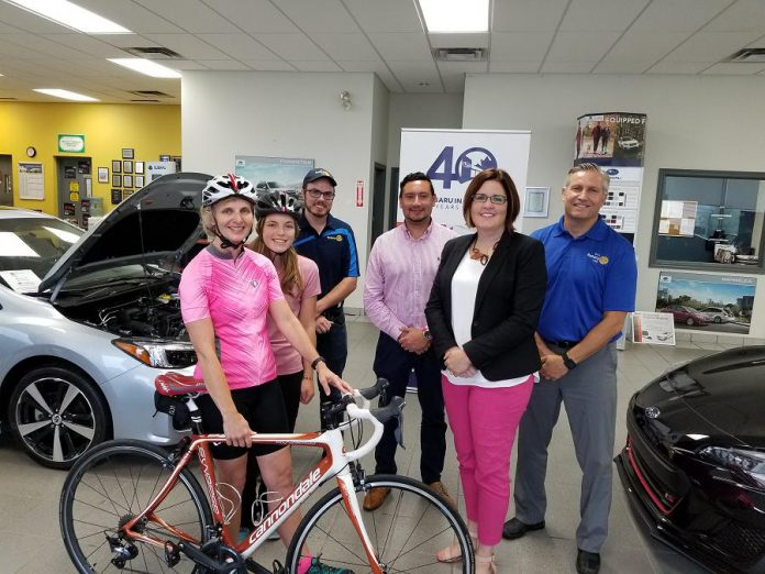 Lesley Heighway joins representatives from BEL Rotary and Subaru Peterborough at the kick off for the 2018 BEL Rotary Bike for Your Hospital, a fundraising ride taking place Saturday, September 15th in support of emergency patient care at Peterborough Regional Health Centre. Visit www.bikeforyourhospital.ca for details.  (Supplied photo)