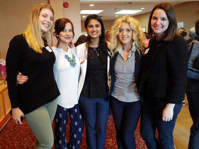 At the May 2017 WBN meeting: Rosalea Terry of the Innovation Cluster, SimbiH2O founder Jane Zima, Ribbet co-founder and then WBN Program Director Sana Virji, Chimp Treats CEO and co-founder Brooke Hammer, and then WBN External Communications Director Paula Kehoe after a panel discussion featuring Jane, Sana, and Brooke. (Photo: WBN)