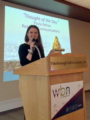 An experienced and compelling communicator, Paula delivers the thought of the day at the 2018 annual general meeting of the Women's Business Network of Peterborough. (Photo: WBN)