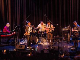 Contemporary jazz-funk quartet Zing (John Ebata on keyboards, John Pagnotta on sax, David Inglis on drums, Patrick McPhail on bass, and Robert Moore on guitar) is performing a benefit concert for Community Care Peterborough on September 8, 2018 at the Market Hall in Peterborough. (Photo: Wendy Greening Photography)