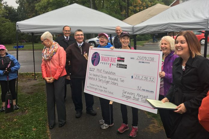 Pterborough Regional Health Centre Foundation President & CEO Lesley Heighway (right) accepts a cheque for $211,238.32 from volunteers from Survivors Abreast and representatives of the Peterborough's Dragon Boat Festival organizing committee on September 25, 2018. The funds raised by the annual festival will be used to support fast and accurate breast cancer diagnosis through innovation in PRHC's laboratory. (Photo: Peterborough's Dragon Boat Festival / Twitter)