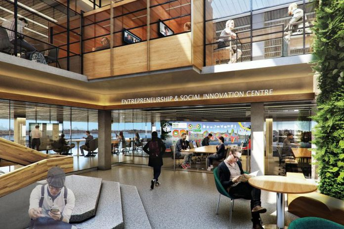 Design concept of the transformed Bata Library when completed. Around 90 per cent of the construction and renovation process has been completed to date, when the library scheduled to re-open in phases in the fall of 2018. As part of the transformation, Trent University is donating 250,000 books to the Internet Archive to be digitized as part of the organization's Open Libraries project. (Illustration: Trent University)