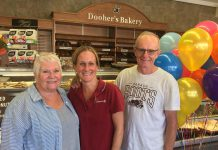 "The family-run Dooher's Bakery in Campbellford has been voted the ""Sweetest Bakery in Canada"" in a nationwide contest sponsored by Dawn Food Products. Pictured is owner Cory Dooher (centre) with her proud parents Christine and Peter. (Photo: Dooher's Bakery / Facebook)"