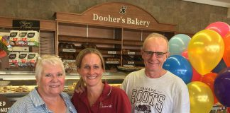 """The family-run Dooher's Bakery in Campbellford has been voted the """"Sweetest Bakery in Canada"""" in a nationwide contest sponsored by Dawn Food Products. Pictured is owner Cory Dooher (centre) with her proud parents Christine and Peter. (Photo: Dooher's Bakery / Facebook)"""