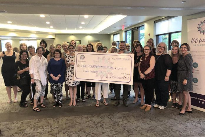 Members of 100 Women Peterborough present a donation of more than $11,000 to Christian Harvey of The Warming Room. (Photo courtesy of 100 Women Peterborough)