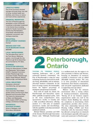 Water Canada Magazine ranked Peterborough as the second best location in Canada for a watertech startup to thrive, and the best place in Ontario. (Photo courtesy of Innovation Cluster)