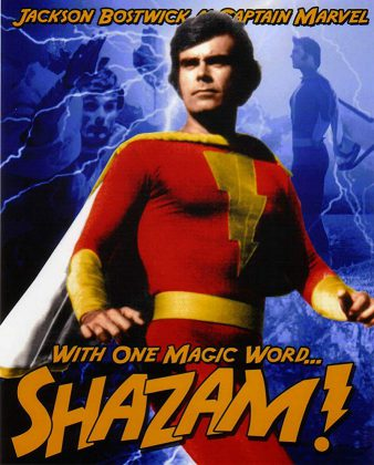 """In the TV series, young Billy Batson (played by teen heartthrob Michael Gray) was transformed into superhero Captain Marvel (Jackson Bostwick, pictured) when he spoke the word """"Shazam!"""". (Publicity photo)"""