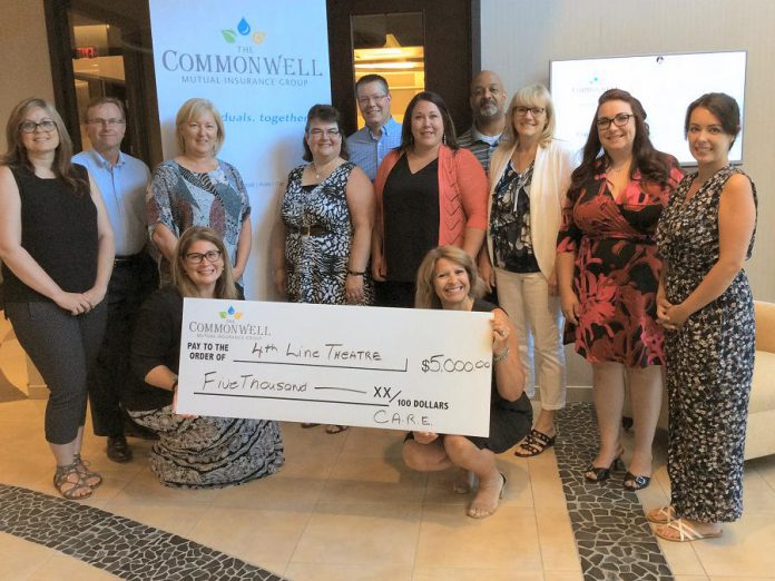 4th Line Theatre's artistic director Kim Blackwell (kneeling, right) and Caitlin McGill (far right) accept a cheque for $5,000 from representatives of The Commonwell Mutual Insurance Group:  Sarah Steele, Chief Strategy Officer David Blodget, Karen Willette, Wendy Norris, Michael Leach, Amanda Kruk of Sentinel Risk Insurance, Trevor Anderson, Julie Bryant, Nicky Burns of Sentinel Risk Insurance, and Jennifer Hope (kneeling, left). The funds will be used for the theatre's youth programs. (Photo courtesy of The Commonwell Mutual Insurance Group)