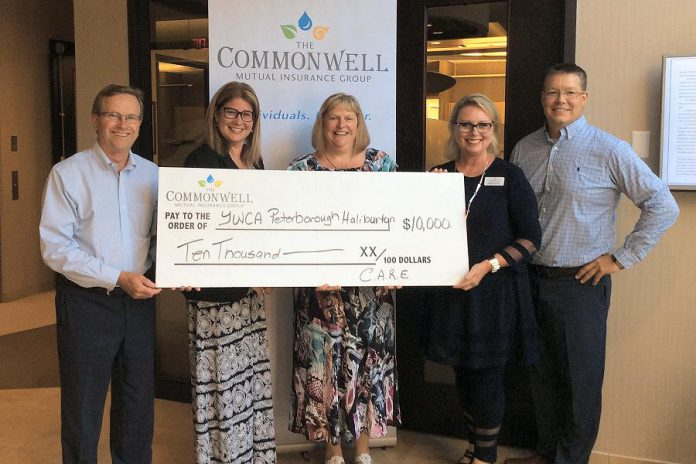 Tina McFarlane of YMCA Peterborough Haliburton (centre) accepts a cheque for $10,000 from representatives of The Commonwell Mutual Insurance Group: Chief Strategy Officer David Blodgett, Jennifer Hope, Gena Scott, and Michael Leach. The funds will be used for the YWCA's Homeward Bound program. (Photo courtesy of The Commonwell Mutual Insurance Group)