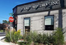 The Wine Shoppe on Park, on the corner of Park and Brock Streets in Peterborough, is one of many local businesses taking environmental actions to green their business. In 2016, The Wine Shoppe worked with GreenUP to DePave an area outside their front entrance, replacing pavement with a garden. (Photo courtesy of GreenUP)
