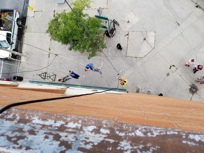 The view from the roof of Peterborough Square looking down on the courtyard. (Photo: Patrica Levert-Thorne)