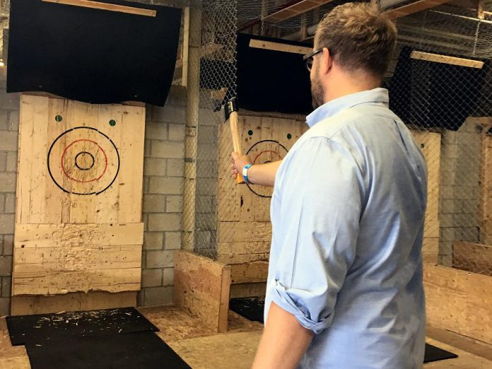 The Peterborough Axe Club, the first axe-throwing club in Peterborough & the Kawarthas, hosts leagues, group bookings, and walk-ins.