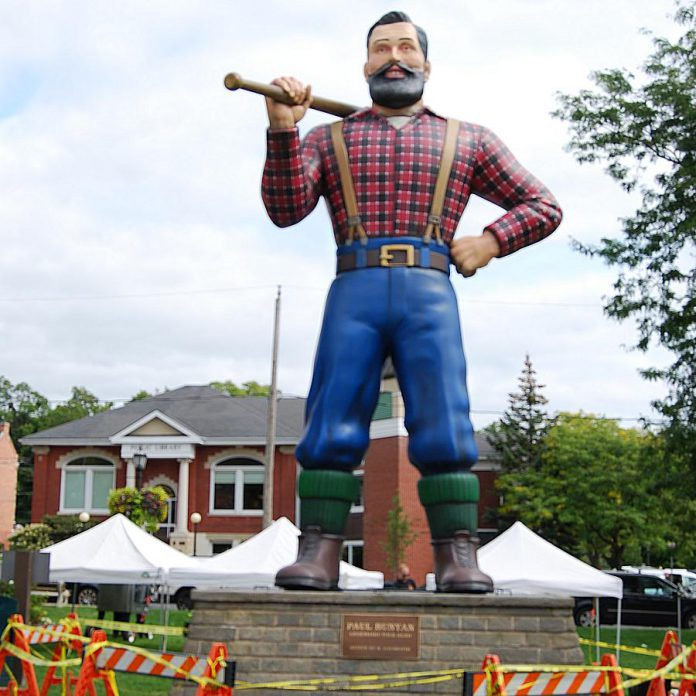 The giant Paul Bunyan statue set piece from the film was a big hit with Cultivate festivalgoers in Port Hope's Memorial Park. (Photo: April Potter / kawarthaNOW.com)