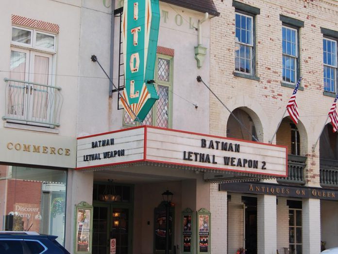 "The marquee of the Capitol Theatre in Port Hope is transported back to 1989 for a flashback scene to the first ""IT"" film. (Photo: April Potter / kawarthaNOW.com)"