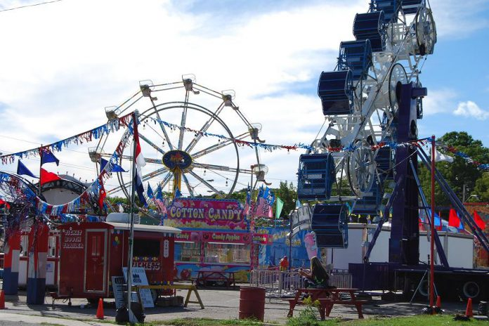 "Not the Port Hope Fair: an amusement park set on Queen Street for the ""IT"" sequel. (Photo: April Potter / kawarthaNOW.com)"