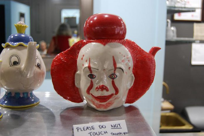 Port Hope merchants and residents have welcomed the cast and crew for the filming of the sequel to the 2017 blockbuster horror film IT based on the book by Stephen King. Local artist Brenda Sullivan of Dragon Clay Productions created this Pennywise teapot, an homage to the film's villainous clown. (Photo: April Potter / kawarthaNOW.com)