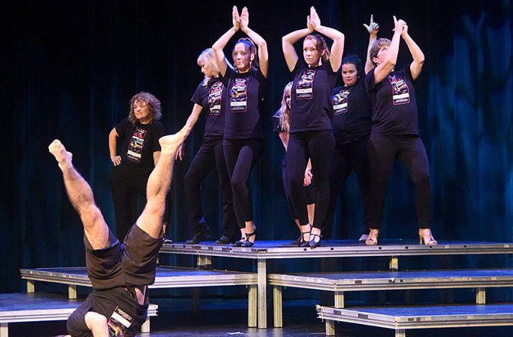 """Members of the cast during a rehearsal for the upcoming production of """"The Music of ABBA"""", a fundraiser of the not-for-profit organization's capital campaign, which runs from October 12 to 14, 2018. The homegrown show features a local cast of 12 singers and six dancers, and the final production will feature original costumes by designer Howard Berry. (Photo: Wayne Bonner)"""
