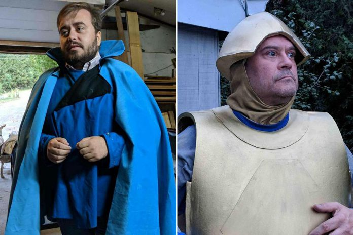 "In Planet 12's ""Space Academy"", Adam Martignetti performs as Commander Gampu, sporting a costume designed by Kathryn Bahun and inspired by the Lando Calrissian character in Star Wars.  Brad Brackenridge will perform as Peepo the Robot.  (Photo courtesy of Planet 12 Productions)"