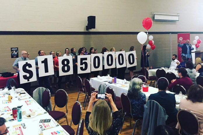The United Way Peterborough & District's 2018 campaign goal of $1.85 million was unveiled at the launch event on September 19, 2018 at the Evinrude Centre in Peterborough. (Photo; United Way Peterborough & District)