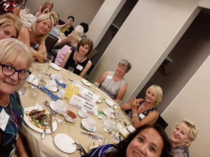 One of the tables at the kick-off meeting of the 2018-19 season of the Women's Business Network of Peterborough at the Holiday Inn in Peterborough on September 5, 2018. During member meeting throughout the year, each table includes a designated facilitator who ensures everyone at the table is introduced and encourages conversation.  New this year, the WBN will be launching a mentorship program, an initiative that aims to match new members with more experienced members. (Photo: Rencee Noonan / WBN)