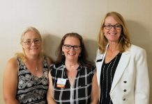 Three members of the Women's Business Network of Peterborough -- Heather Doughty, Tracey Ormond, and Monika Carmichael -- each candidly shared their personal stories of struggle and success at the kick-off meeting of the networking organization's 2018-19 season at the Holiday Inn in Peterborough on September 5, 2018. (Photo: Rencee Noonan / WBN)
