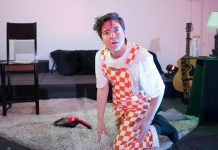 """Em Glasspool performing in their new work """"Wreck Wee Em"""", which explores the artist's personal experiences with mental illness, trauma, and addiction. The show runs for four performances from September 27 to 30, 2018 at Evans Contemporary in downtown Peterborough. (Photo: Andy Carroll)"""