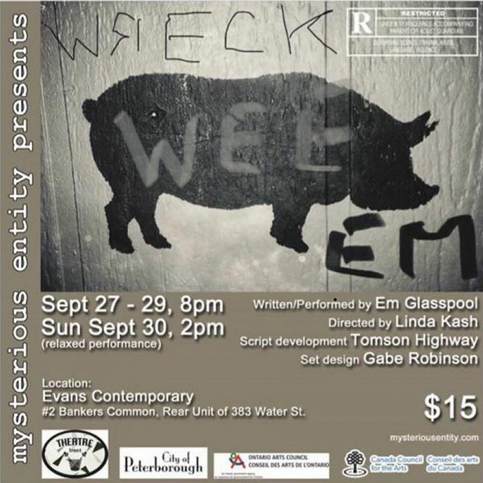 "Em Glasspool's ""Wreck Wee Em"" runs for four performances from September 27 to 30, 2018 at Evans Contemporary in downtown Peterborough. (Poster: Mysterious Entity)"