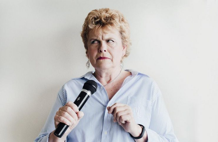 """New Stages Theatre Company opens its 2018-19 season with a performance by comedian Deborah Kimmett of her acclaimed monologue """"The Year of the Suddenly"""" on September 23, 2018 at the Market Hall in downtown Peterborough. Directed by Peterborough's own Linda Kash, the performance also features accompaniment by Toronto musician Nichol Robertson. (Photo: Cassandra Rudolph)"""