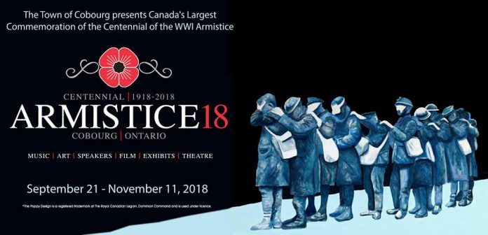 Armistice 18, which runs until Remembrance Day in the Town of Cobourg, features music, art, speakers, film, exhibits, and theatre, all commemorating the centennial of the 1918 armistice between the Allies and Germany ending the First World War. (Graphic: Town of Cobourg)