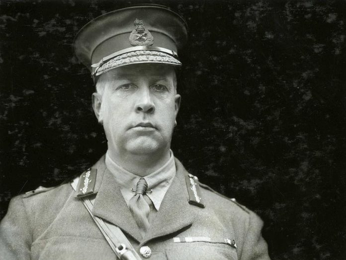 "Hugh Brewster's play ""Last Day, Last Hour - Canada's Great War on Trial"" tells the story of the libel suit brought forward against a Port Hope newspaper in 1928 by Canada's most illustrious WWI general, Sir Arthur Currie. The play is being staged in the same courtroom where the trial actually took place. (Photo: Canadian War Museum)"
