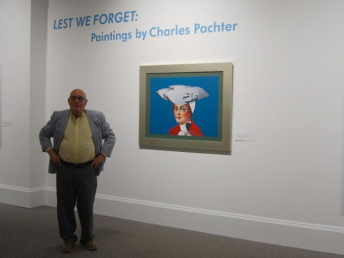 "Artist Charles Pachter with his painting ""Tank Top"" at the opening ceremony of Armstice 18 in Cobourg  on Sunday, September 30, 2018. (Photo: April Potter / kawarthaNOW.com)"