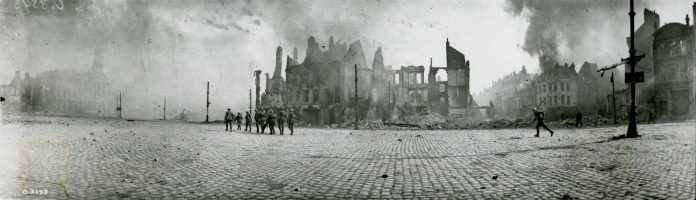 One of the centrepieces of Armistice 18 is the display of 40 panoramic photographs taken by Canada's most prominent war photographer William Rider-Rider that haven't been displayed since 1989. Pictured is one of Rider-Rider's panoramic photographs from Library and Archives Canada, showing Canadian soldiers entering the Square in Cambrai, France in October 1918. The retreating Germans set fire to the town, but the rapid occupation allowed much of the city to be saved from the flames.