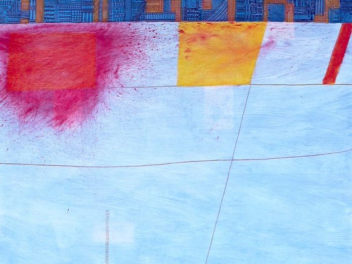 Detail of 'Hopscotch', one of a series of abstract paintings by Andrew Cripps on display this November at Coeur Nouveau in downtown Peterborough. The show opens at 6 p.m. on Friday, November 2nd, in conjunction with the First Friday Art Crawl. (Photo courtesy of Coeur Nouveau)