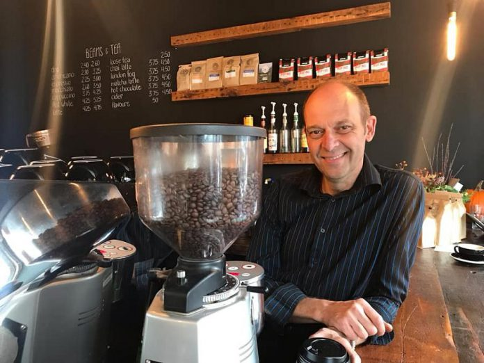 Steve Francis, co-owner of Cork & Bean, which opened in downtown Peterborough on October 9, 2018. (Photo: Maryam Monsef / Facebook)