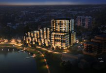 A nightime rendering of Ashburnham Realty's proposed new luxury condo development on Crescent Street on the shores of Little Lake in Peterborough. (Supplied image)