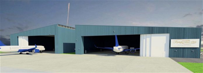 Designed for large jets, the new 100,000-square-foot hanger will include a 40,000-square-foot paint shop and 40,000 square feet for maintenance and interior work. (Rendering: Flying Colours Corp.)