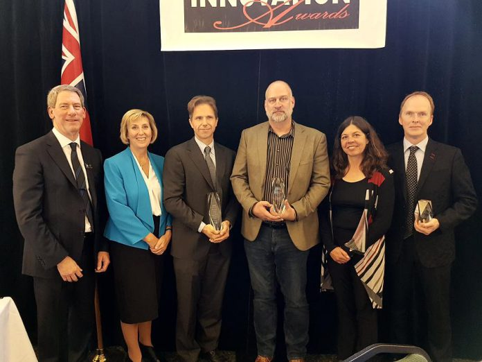 The 2018 Innovation Awards were handed out on October 19, 2018 to Belair Mechatronics, Netmechanics, and The Lindsay Advocate. (Photo: Kawartha Lakes CFDC / Twitter)