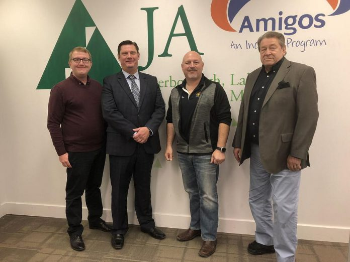 Alf Curtis Home Improvements Inc. has invested $15,000 into Junior Achievement of Peterborough Lakeland Muskoka (JA-PLM). Pictured are Alf Curtis president Brent Perry (second from right) with JA-PLN Executive Assistant Cody McIntyre, Innovation Cluster president and CEO Michael Skinner, and JA-PLM president and CEO John McNutt. (Photo courtesy of JA-PLM)