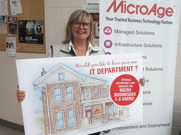 Amy Simpson, owner of information technology solutions firm MicroAge Peterborough (which is celebrating 35 years in business), launched a new offering for micro-businesses at the Peterborough Chamber of Commerce's Love Local Trade Show on October 3, 2018. (Photo: Jeannine Taylor / kawarthaNOW.com)