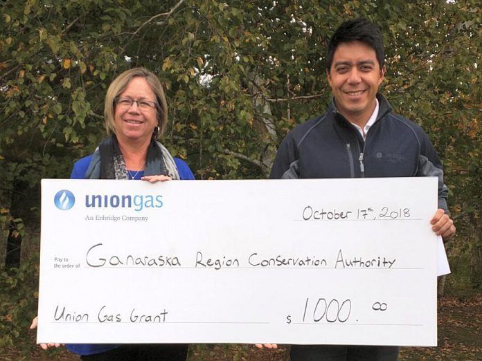 Brian Alexander, Utility Services Manager with Union Gas in Cobourg, presents a $1,000 cheque to Linda Laliberte, CAO/Secretary-Treasurer with Ganaraska Region Conservation Authority. (Supplied photo)