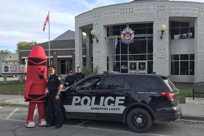 Tip the Crayon went on a tour of Lindsay last week, stopping off at various locations including the Kawartha Lakes Police Service, to promote the annual Crayola Sale fundraiser for the United Way for the City of Kawartha Lakes. (Photo: United Way for the City of Kawartha Lakes)