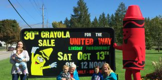 The 30th Annual Crayola Sale, a fundraiser for the United Way for the City of Kawartha Lakes, takes place on the morning of Saturday, October 13, 2018, at the Lindsay Exhibition Fairgrounds and is open to the public. (Photo: United Way for the City of Kawartha Lakes)