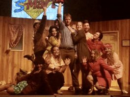 """The cast of """"Evil Dead The Musical"""" during a preview performance. The gory musical comedy returns to the Market Hall in downtown Peterborough for four performances from October 11 to 13. (Photo: Sam Tweedle / kawarthaNOW.com)"""