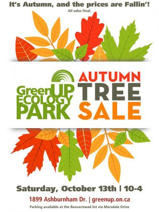 GreenUP Ecology Park's annual Autumn Tree Sale takes place from 10 a.m. to 4 p.m. on Saturday, October 13, 2018.