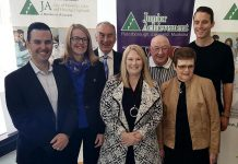 Nominations for the Junior Achievement Peterborough Lakefield Muskoka 2019 Business Hall of Fame are now open. Pictured are seven of the 2018 inductees: Robert Gauvreau, Monika Carmichael, Carl Oake, Sally Harding, Alf and June Curtis, and Paul Bennett. The 2019 inductees will be announced in January. (Photo: Jeannine Taylor / kawarthaNOW.com)